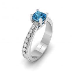 AQUA DIAMOND SOLITAIRE RING