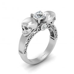 FILIGREE DIAMOND SKULL ENGAGEMENT RING