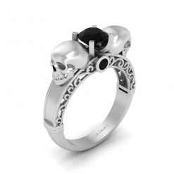 BLACK DIAMOND SKULL WEDDING RING