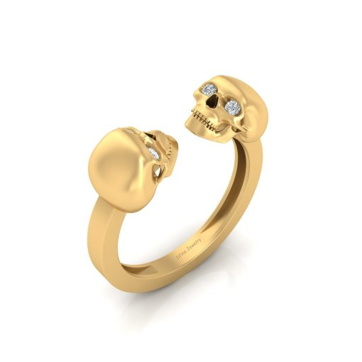 GOLD SKULL RING WITH DIAMOND EYES