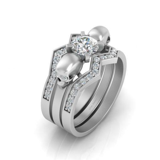 DIAMOND SKULL ENGAGEMENT RING SET