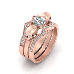 DIAMOND SKULL WEDDING RING SET