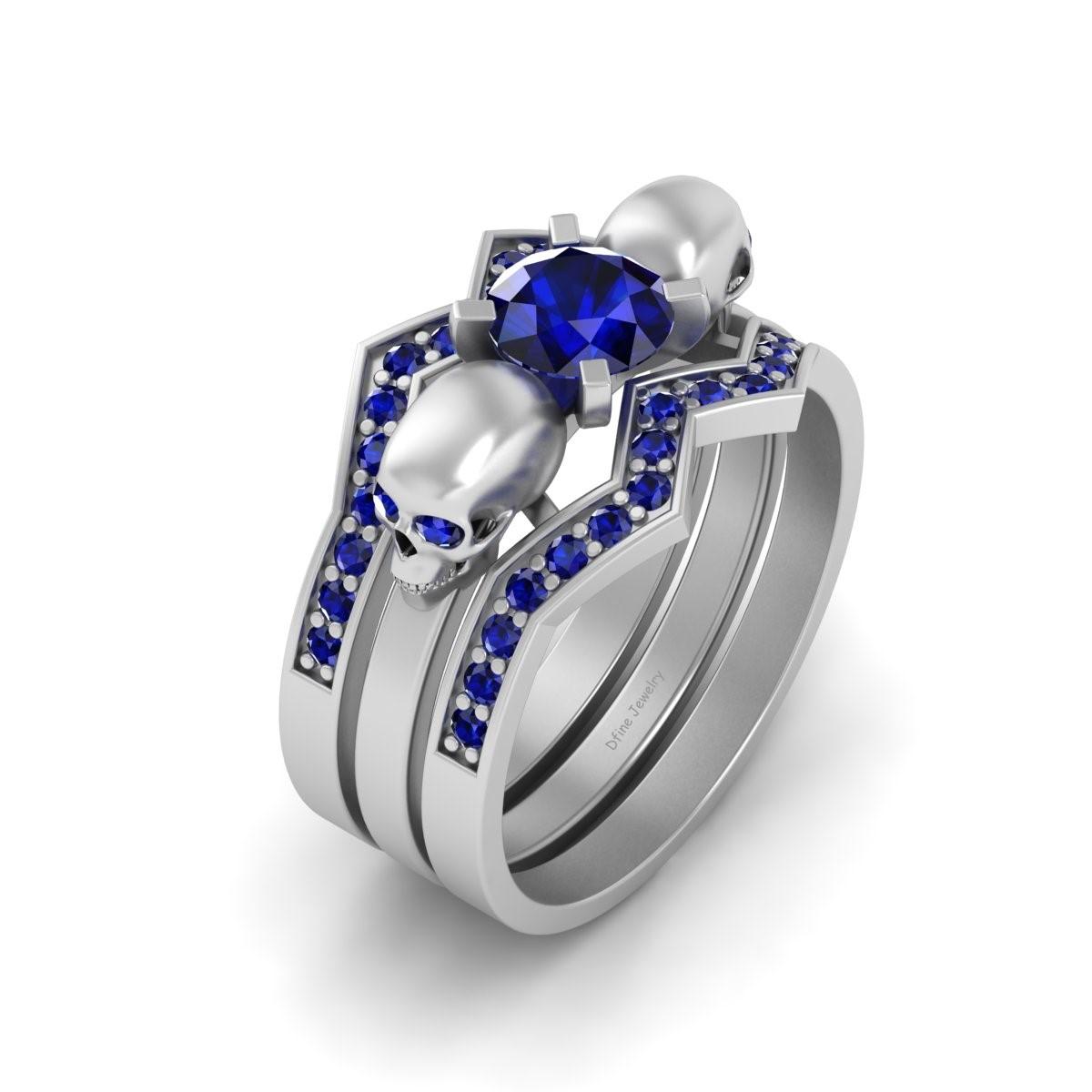 sapphire skull wedding ring set for women cheap price