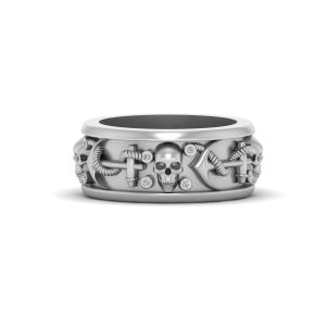 Anchor Skull Wedding Band