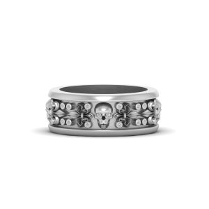 DIAMOND SKULL WEDDING BAND