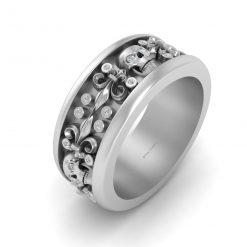 DIAMOND SKULL WEDDING BAND