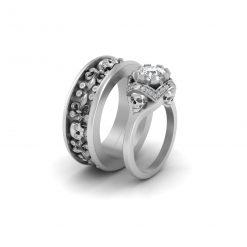 Diamond Skull Couple Rings