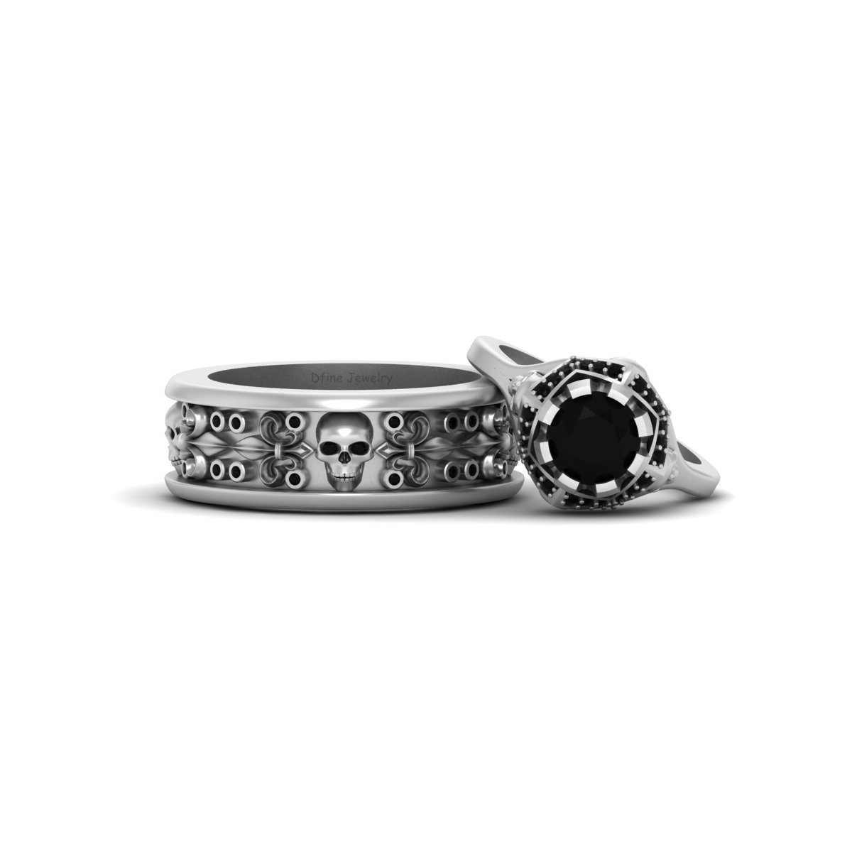 Skull Engagement Ring Band Set Dfine Jewelry Store