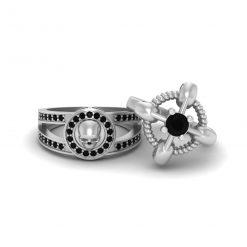 White Gold Skull Wedding Ring Set