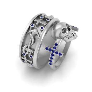 Skull and Cross Wedding Ring Set