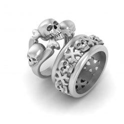 SKULL CROSSBONES WEDDING RINGS
