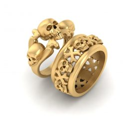 PIRATES SKULL WEDDING RINGS