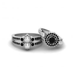 Onyx Skull Wedding Ring Set