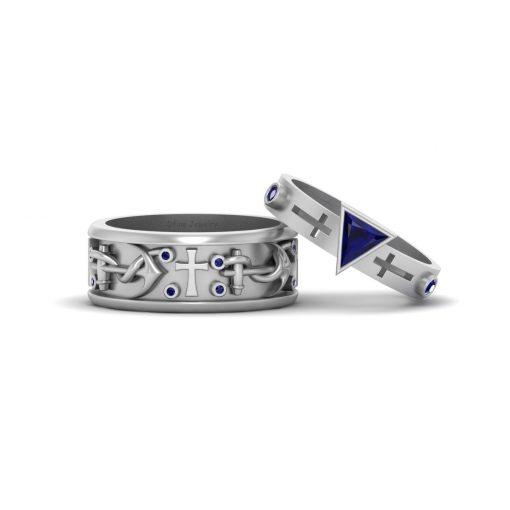 NAUTICAL WEDDING RING BAND SET