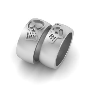 Sugar Skull Wedding Band Set