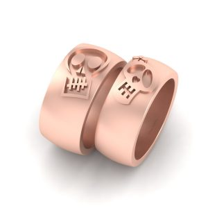 Sugar Skull Engagement Band Set