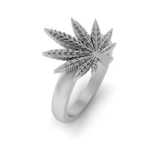 Marijuana Leaf Engagement Ring
