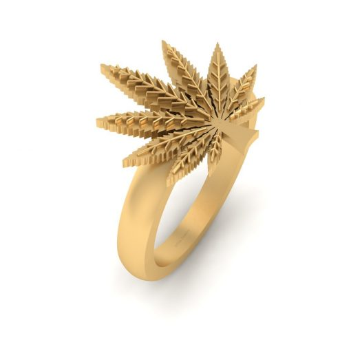 MARIJUANA LEAF RING GOLD