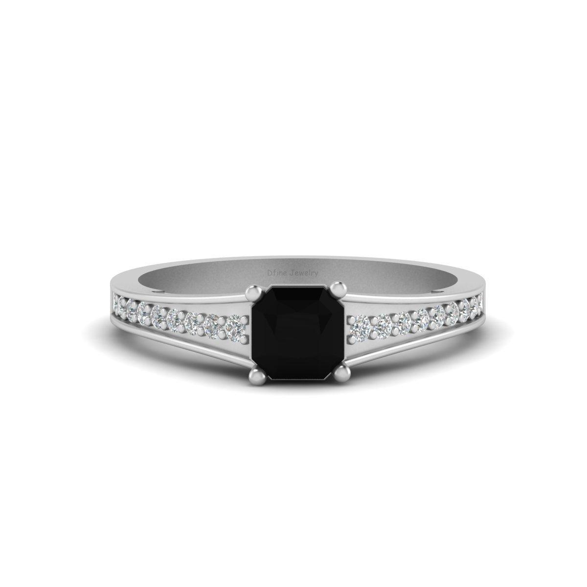 Radiant Cut Onyx Wedding Ring