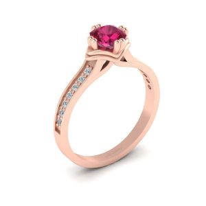Cushion Pink Ruby Bridal Ring