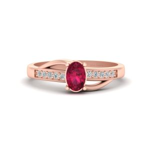 Oval Pink Ruby Promise Ring