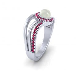 PINK DIAMOND ACCENTS PEARL RING