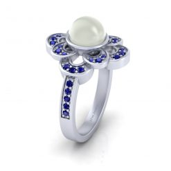 FLORAL PEARL ENGAGEMENT RING