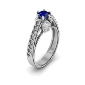 Milgrain Heart Wedding Ring