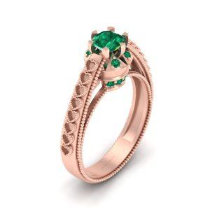 Tsavorite Green Milgrain Heart Ring