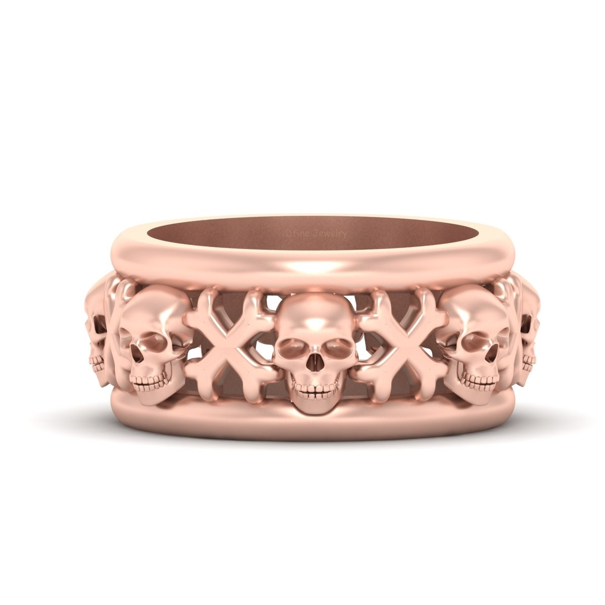 Skull Wedding Band For Men Skull And Crossbones Band Badass Ring