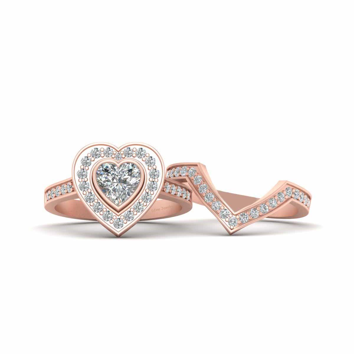 Rose Gold Heart Wedding Ring Set