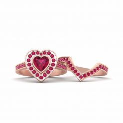 PINK RUBY HEART RING
