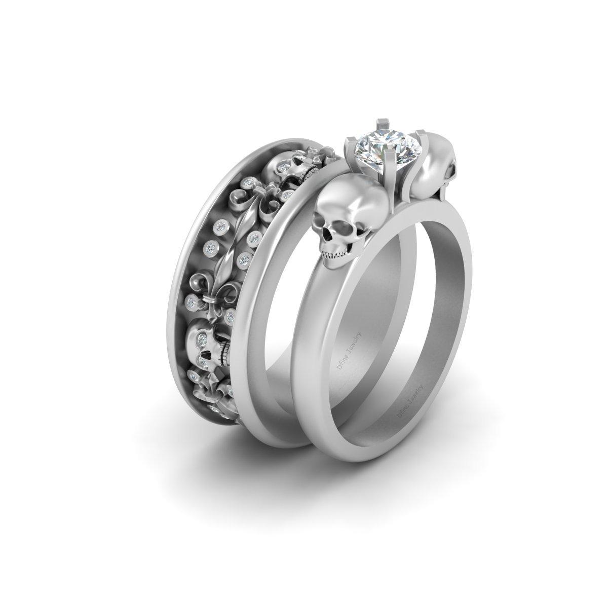 Skull Wedding Band Ring Set Dfine Jewelry Store