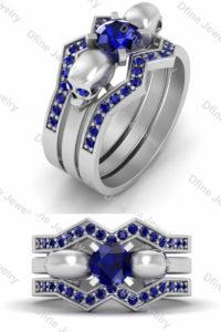 Diamond Skull wedding ring set For Women