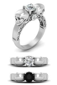 Diamond skull wedding filigree ring
