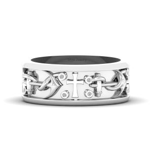 Holy Religious Cross Anchor Wedding Band Mens