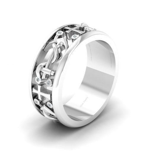 CROSS ANCHOR WEDDING BAND