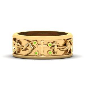 Peridot Gemstone Anchor Ring Cross Wedding Band