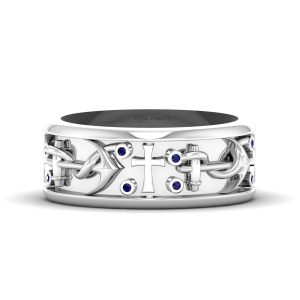 Blue Sapphire Pirates Anchor Holy Cross Ring Band