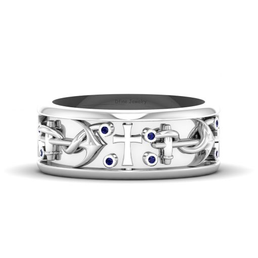 PIRATES ANCHOR HOLY CROSS RING