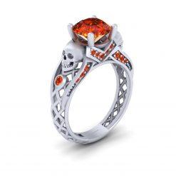 Criss Cross Skull Engagement Ring