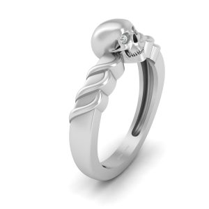 Diamond Spooky Witchy Skull Engagement Ring