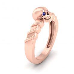 BLUE DIAMOND EYES SKULL RING