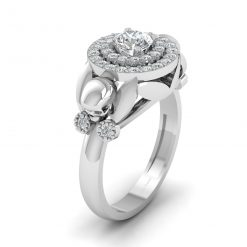 DIAMOND HALO SKULL ENGAGEMENT RING