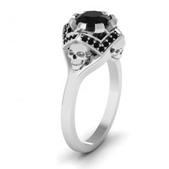 BLACK ONYX SKULL ENGAGEMENT RING