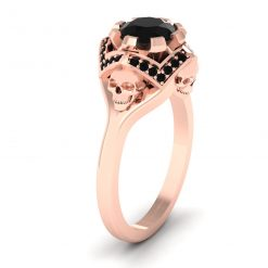 SKULL ENGAGEMENT RING ROSE GOLD