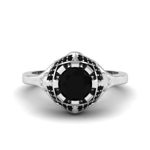 Black Diamond Horror Theme Geeky Skull Ring