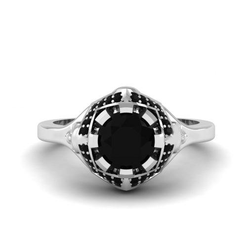 BLACK ONYX SKULL ENGAGEMENT RING