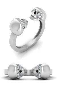 Cheap skull engagement ring with diamond eyes