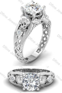 Gorgeous gothic skull wedding ring